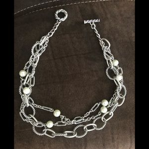 Silver pearl and link necklace.  Like new.